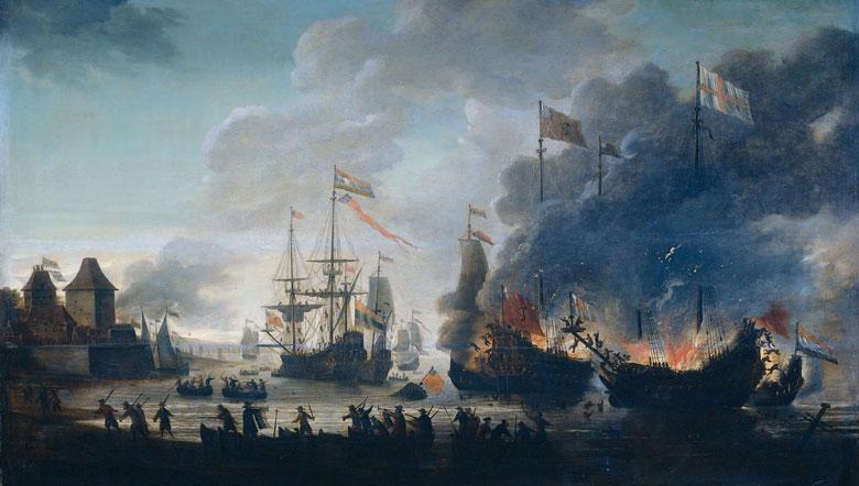 De Tocht naar Chatham of de Slag bij Medway, 20 juni 1667, Jan van Leyden (1669) (Rijksmuseum)