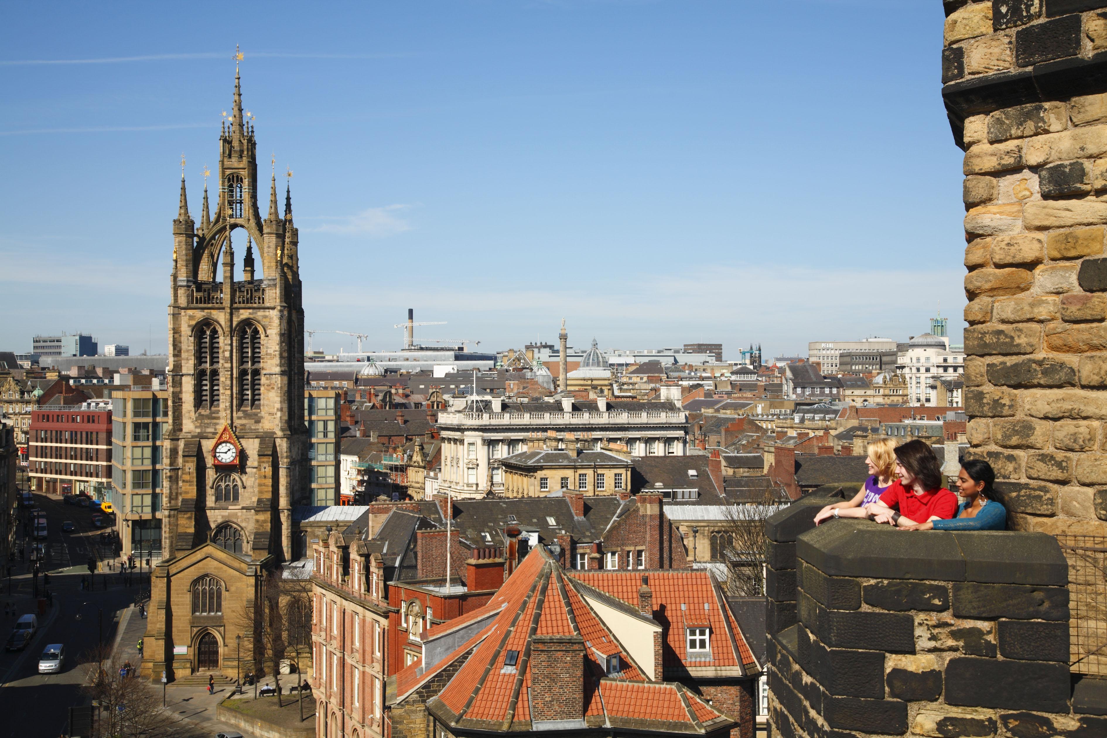 Uitzicht vanaf Castle Keep in Newcastle