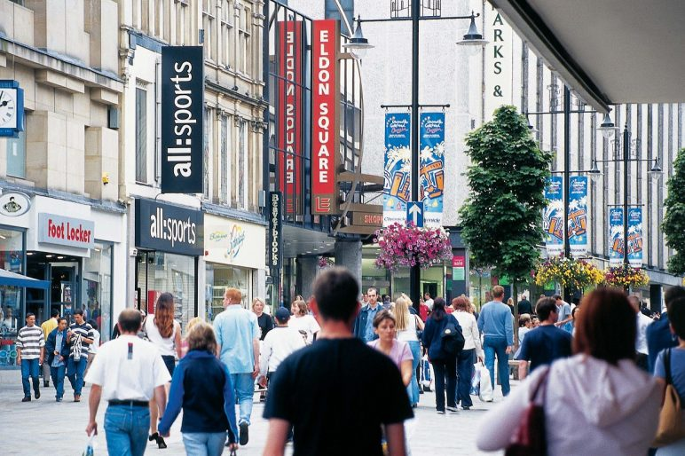 The main shopping street in Newcastle city centre, Northumberland Street is home to the flagship 'Fenwicks of Bond Street' Department store, one of the largest in the UK, as well as many other high street names.