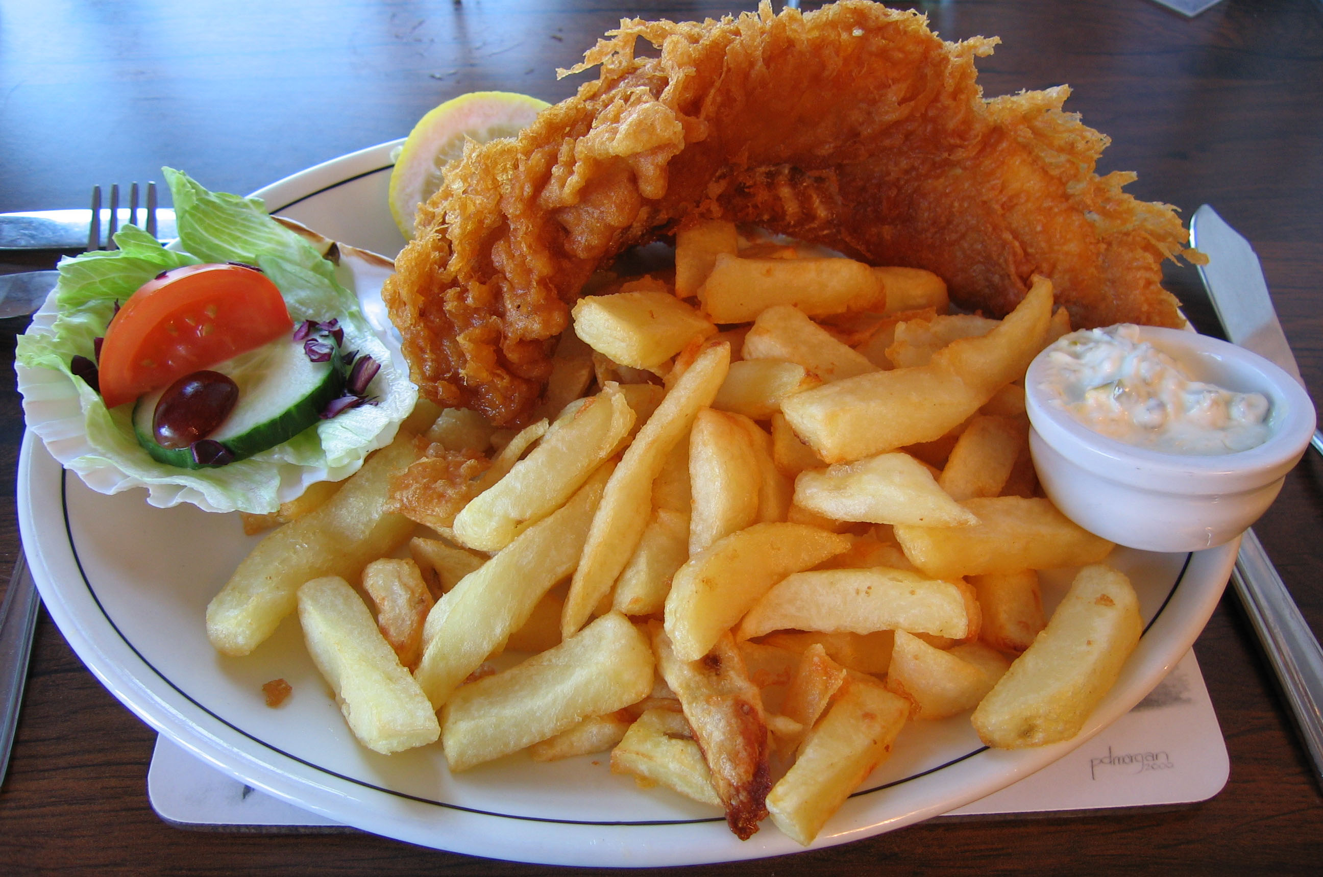 Fish 'n chips in The Magpie Café - Whitby