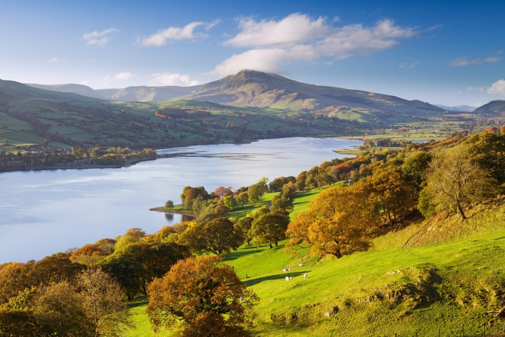 Bala Lake and the Aran Hills in the Snowdonia National Park. Elevated view over the landscape in autumn.