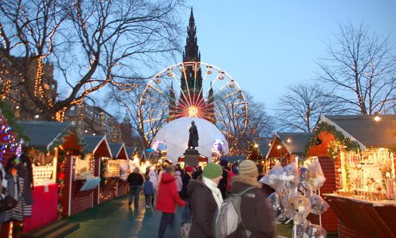 Kerstshoppen in Edinburgh: kerstmarkt