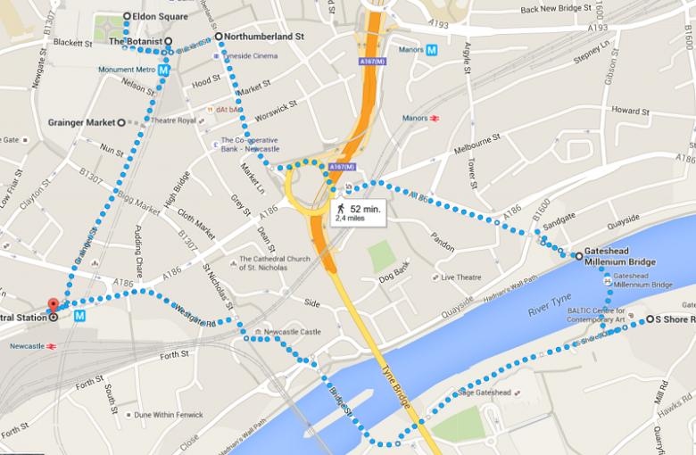 De leukste route voor jouw MiniCruise in Newcastle