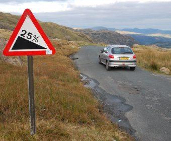 Hellingen van 25% - geen uitzondering in het Lake District