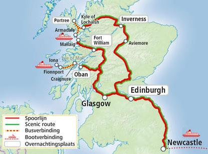 Treinrondreis Schotland - kaart